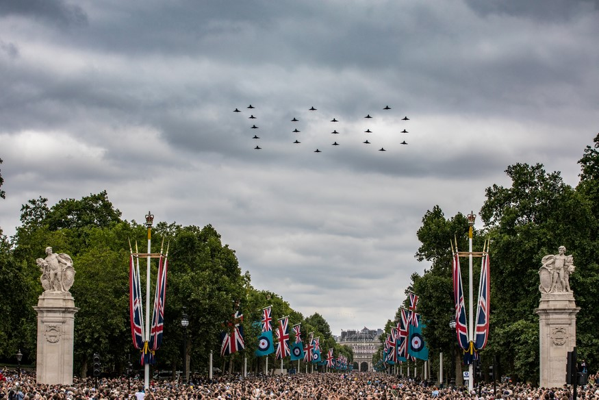 22 Typhoons spell out 100 as they fly over The Mall